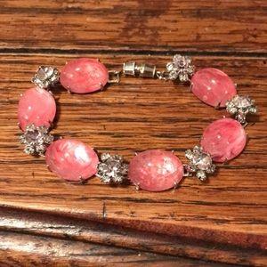 Hattie Carnegie pink glass bracelet